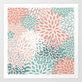 Festive, Floral Prints, Teal Green, Peach, Coral, Colour Prints Art Print