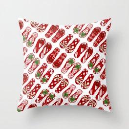 Cute Flip Flops Holiday Pattern Throw Pillow