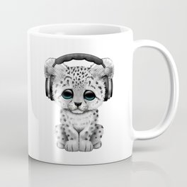 Cute Snow leopard Cub Dj Wearing Headphones on Blue Coffee Mug