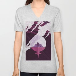Enceladus Retro Space Poster : Eggplant Purple Pink Unisex V-Neck