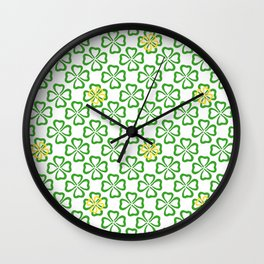 Clover Leaves Pattern Wall Clock