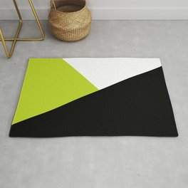 Trichromatic Black White Lime Color Block Rug