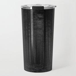 The Dense & Foggy Forest (Black and White) Travel Mug