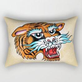 Fierce Tiger - Traditional Tattoo Design Rectangular Pillow