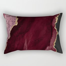 Agate, Burgundy Pink Faux Gold Rectangular Pillow