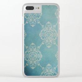 Vintage Damask - Dark Teal Clear iPhone Case
