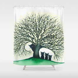 Illinois Whimsical Cats Shower Curtain