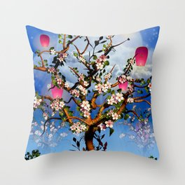 Cherry blossom tree with pink lanterns Throw Pillow