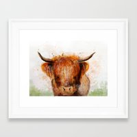 cow Framed Art Prints featuring Cow by emegi