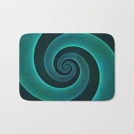 Magical Teal Green Spiral Design Bath Mat