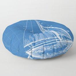 Sailboat Patent - Yacht Art - Blueprint Floor Pillow