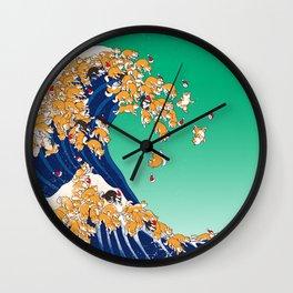 Christmas Shiba Inu The Great Wave Wall Clock