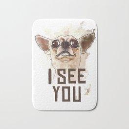 Funny Chihuahua illustration, I see you Bath Mat