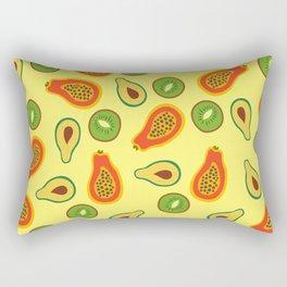Papaya, kiwi, avocado, Tropical fruit pattern, tropical fruit print, home decor Rectangular Pillow