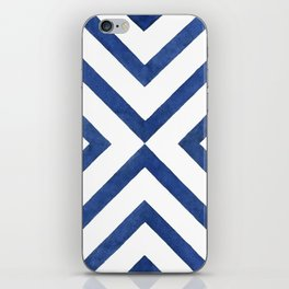 Geometrical modern navy blue watercolor abstract pattern iPhone Skin