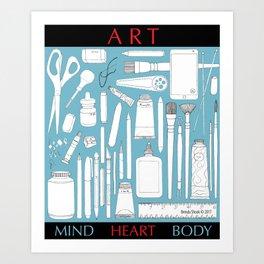 Art Mind Heart Body (blue, black, red) Art Print