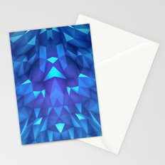 Deep Blue Collosal Low Poly Triangle Pattern -  Modern Abstract Cubism  Design Stationery Cards