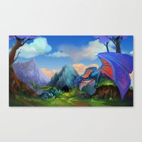 dragons Canvas Prints featuring Dragons by Leksotiger