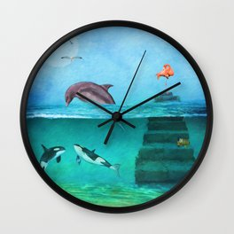 Whimsical Original Painting Life Under Sea By Liane Wright Wall Clock