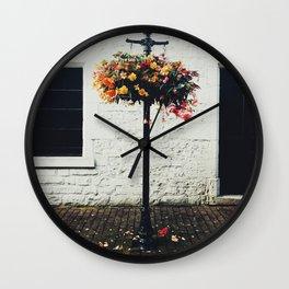 Flower arrangement in light post - Strathearn, Scotland Wall Clock