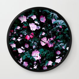 Emerald Green And Rose Blush Floral Wall Clock