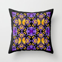 BLACK-GOLD-PURPLE BUTTERFLIES PANSY KALEIDOSCOPE Throw Pillow