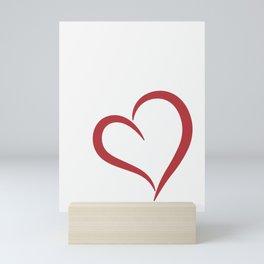 Red heart on white Mini Art Print