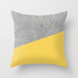 Concrete and Primrose Yellow Color Throw Pillow