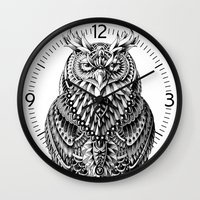 bioworkz Wall Clocks featuring Great Horned Owl by BIOWORKZ