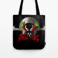spawn Tote Bags featuring Chibi Spawn by artwaste