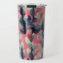 Coral pink navy blue mint green watercolor floral Travel Mug