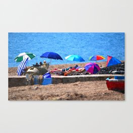 HOLIDAZE - Sunshades and Parasols on Sandy Beach Canvas Print