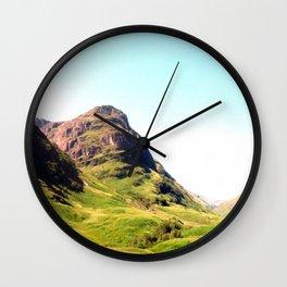 glencoe panorama landscape, scotland. Wall Clock