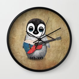 Baby Penguin Playing Czech Flag Acoustic Guitar Wall Clock