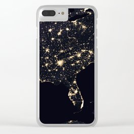 United States at Night Clear iPhone Case
