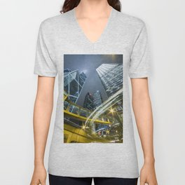 Hong Kong Night City Unisex V-Neck