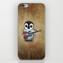 Baby Penguin Playing Colorado Flag Guitar iPhone Skin
