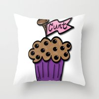 cunt Throw Pillows featuring Cunt Muffin by The Weirdoll Effect