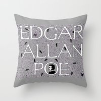 edgar allan poe Throw Pillows featuring Edgar Allan Poe by DonnaHuntriss
