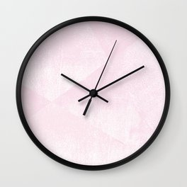 Pastel Pink and White Geometric Lino-Textured Print Wall Clock