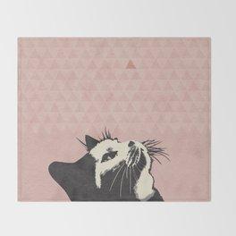 Cat on Pink - Lo Lah Studio Throw Blanket