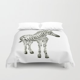 Zebra Watercolor Baby Animals Duvet Cover