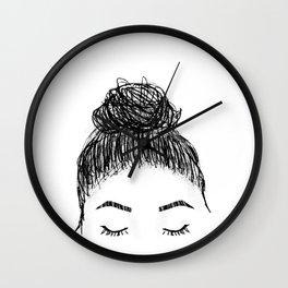 messy girl bun Wall Clock