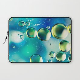 Macro Water Droplets  Aquamarine Soft Green Citron Lemon Yellow and Blue jewel tones Laptop Sleeve