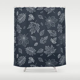 Hand drawn elegant white navy blue maple leaves Shower Curtain