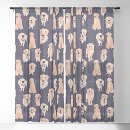 Golden Retrievers on Navy Sheer Curtain