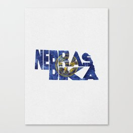 Nebraska Typographic Flag Map Art Canvas Print