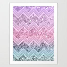 Unicorn Glitter Chevron #1 #pastel #shiny #decor #art #society6 Art Print
