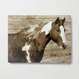 Sepia Paint Horse With Quote Metal Print