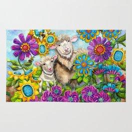 Sheep in the Summer Garden Rug